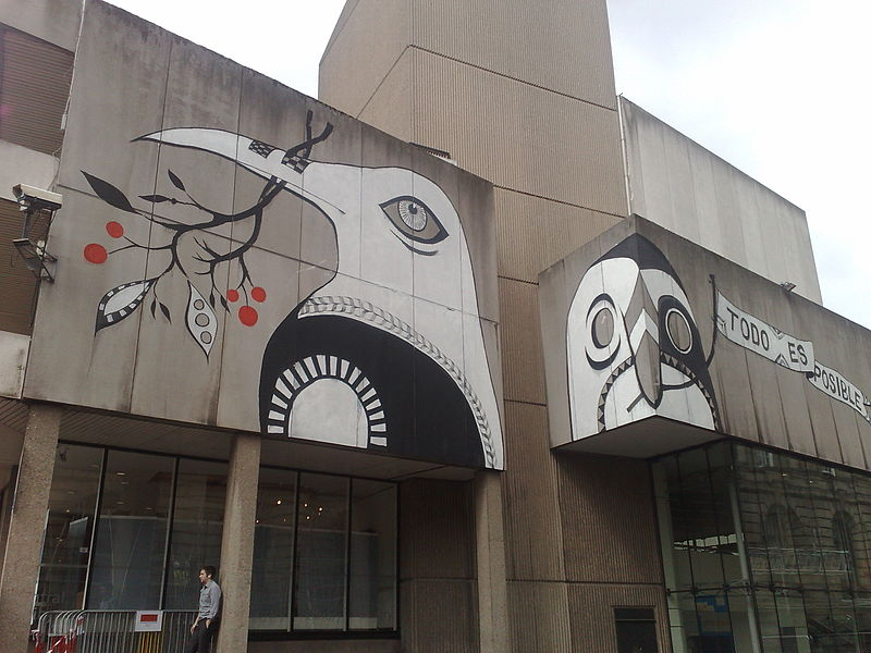 Painting of birds by Lucy McLauchlan on Birmingham Central Library.  Picture by Andy Mabbett (http://pigsonthewing.org.uk/), Source Wikipedia